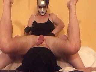 Femdom Popsy milking cock with gloves
