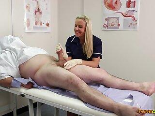 Nurse Adele Cherry sucks a dick thru a gloryhole and eats cum